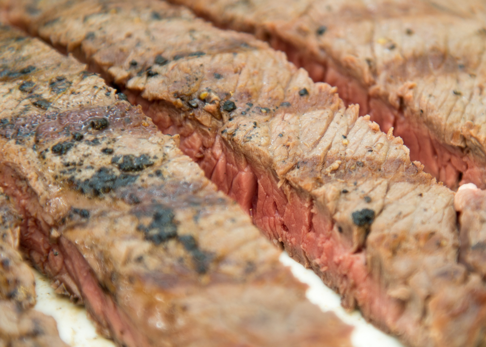 Strips of grilled steak